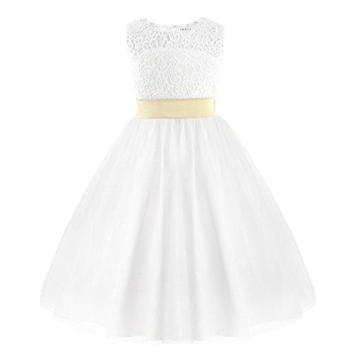 IEFIEL Vestido Blanco de Princesa Fiesta Ceremonia Boda Vestido Encaje Floreado Bautizo para Niña (2-12 Años) Espalda al Aire Blanco 6 años