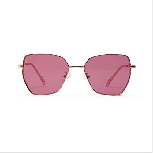 YANPAN Metallquadrat Auch Brille Männlicher Trend Retro Sonnenbrille WeiblicheOzean Stück Sonnenbrille Haw Rot