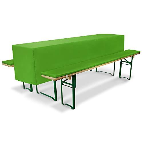 Beautissu Comfort S gepolsterte Bierbank-Auflage & Tisch-Husse 3 TLG. Set für 50cm breite Bierzeltgarnitur Apfel-Grün & weitere Farben