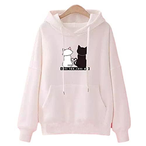 Streetwear Sudaderas con capucha para mujer Otoño Manga Larga Sudaderas con capucha Harajuku, blanco, M