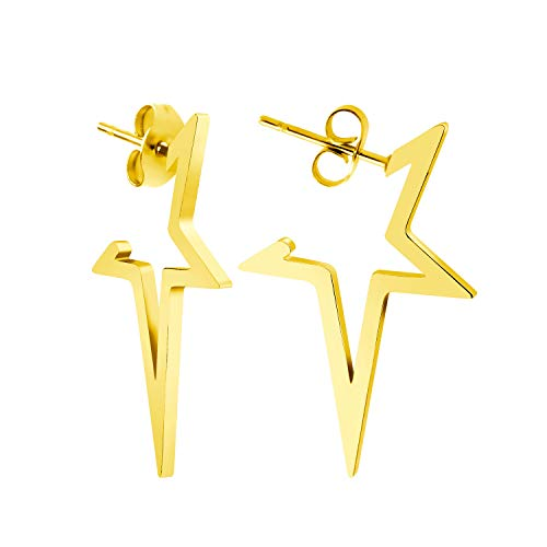555Jewelry Nickel Free Edgy Open Shooting Star Stud Earrings for Girls & Women gold