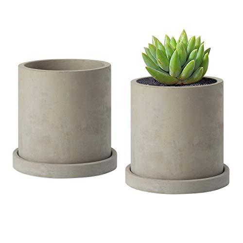 MoonLa 4-Inch Gray Unglazed Cement Succulent Planter Pots Concrete Cactus Planter Mini Plant Pot Flower Pots with Drainage Hole and Removable Saucer, Set of 2