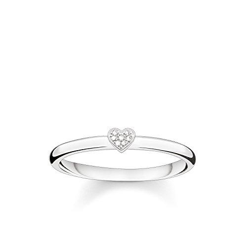 Thomas Sabo - Anillo Corazon Mujer, Plata de Ley 925 con Diamante