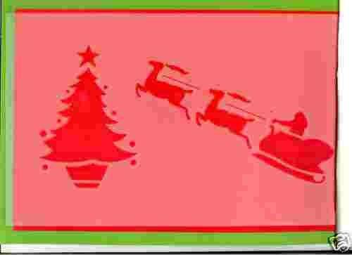 Humbrol Schablone A4 18 x 28 cm 2 Motive je Bogen Christmas, Winter, Weihnachten, Fensterdekoration, Schneespraybild (Schlitten/Tannenbaum)
