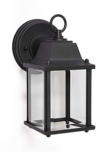 CORAMDEO Outdoor LED Wall Sconce Light for Porch, Patio, Barn and More, Wet Location, Built in LED Gives 75W of Light, 800 Lumens, 3K, Durable Cast Aluminum with Black Finish & Beveled Glass