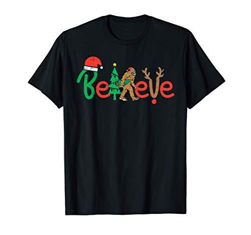 Believe Bigfoot Sasquatch In Mask Christmas Quarantine Gift T-Shirt