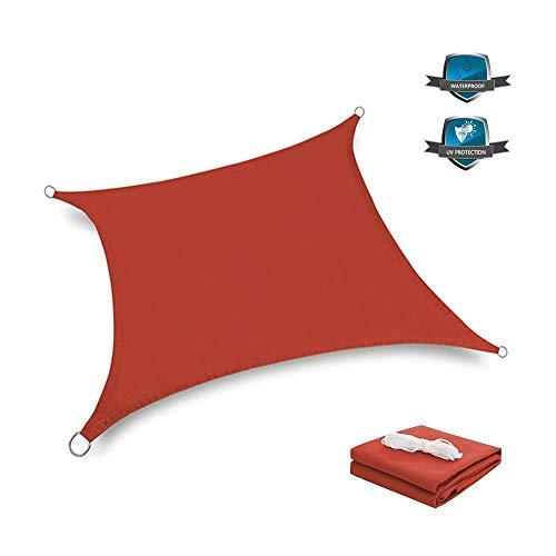 Nologo Sonnensegel Sonnensegel Wasserdicht Outdoor Garten Terrasse Party Sonnenschutz Markise Baldachin 90% UV Block mit Seil, rot, 2,5 x 2,5 m