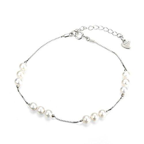 Aeici Plata Pulsera para Mujeres 12 Perlas Longitud: 21Cm