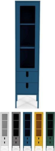 tenzo 8566-023 UNO Designer Vitrine 1 Porte, 2 tiroirs, Bleu Pétrole, MDF Particules ép. 19 et 16 mm Panneau arrière laqué. Poignées en matière Plastique, 178 x 40 x 40 cm (HxLxP)