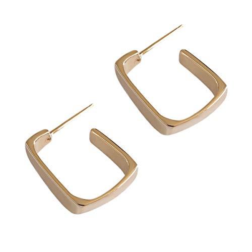 Lotus Fun S925 Sterling Silber Ohrringe Einfache Unregelmäßige Geometrische Quadratische Ohrstecker Ohrringe Natürlicher Handgemachter Einzigartiger Schmuck für Frauen und Mädchen (Gold)