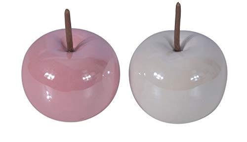 CHICCIE 2 Set Keramik Äpfel Weiß Rosa Glänzend 10cm - Dekoapfel Deko Apfel Dekoäpfel Obst Dekoobst Kunstobst