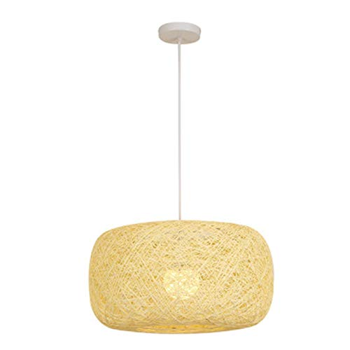 Vobajf Pantalla de lámpara Simple Estilo japonés Homestay Rattan Hand-Woven Chandelier Bird's Nest Ball Ball Creative Lampshade (Color : Beige, Size : 40x22cm)