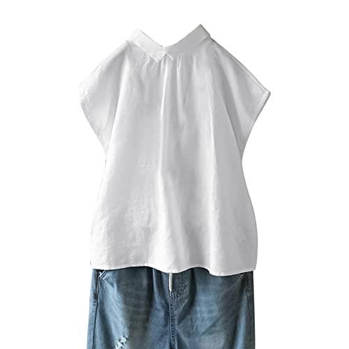 Julhold Blusa de lino sólido solapa manga corta camisa mujer casual suelta, blanco, S
