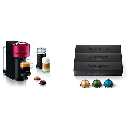 Nespresso Vertuo Next Red by Breville with Aeroccino3 + Nespresso Capsules VertuoLine, Best Seller Variety Pack, Medium and Dark Roast Coffee, 30 Count Coffee Pods