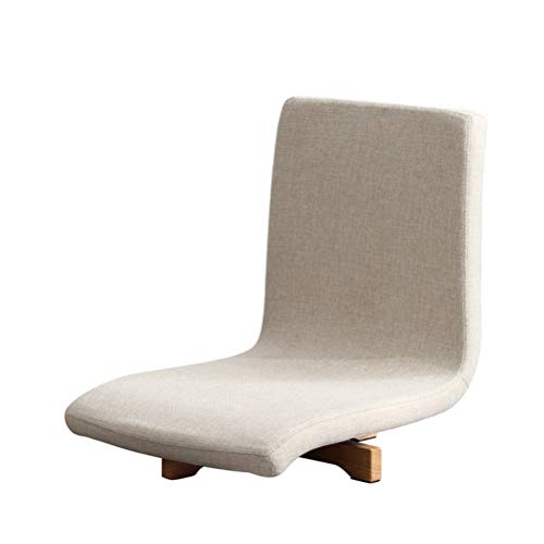 Jiu si Y Meditation Chair Floor Swivel Chair,Japanese Tatami Room Beech Wooden Meditation Chair with Back Support for Adults,Washable Floor Seating with Comfortable Cushion,150kg Load (Color : Beige)