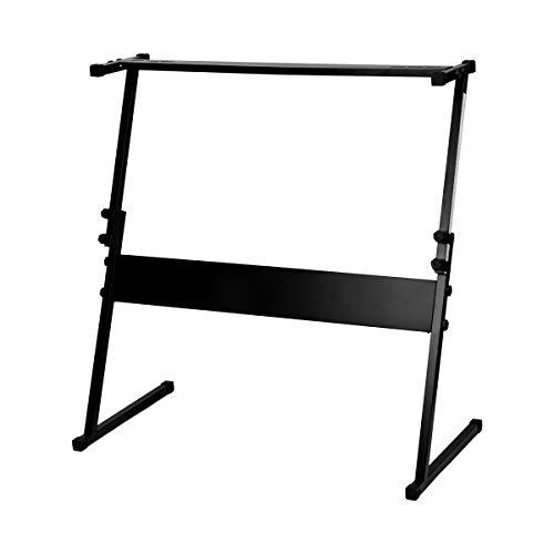 DEWEL 電子ピアノスタンド キーボード用スタンド キーボード台 シンセサイザー Z型 高さ調節可 本体固定ネジ付 ブラック