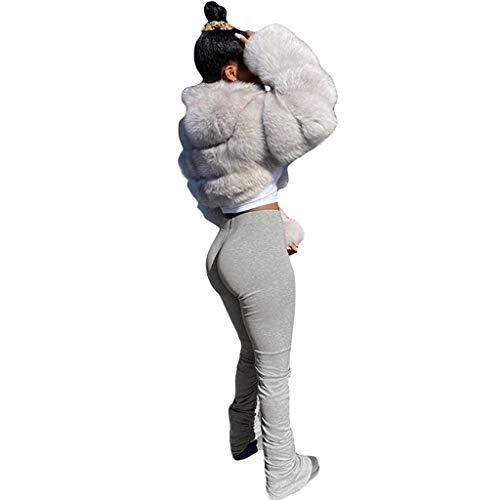 Janly Clearance Sale Pantalones de yoga para mujer, pantalones de correr, correr, correr, correr, correr, yoga, deporte, leggings apilados, para otoño (gris-XXL)