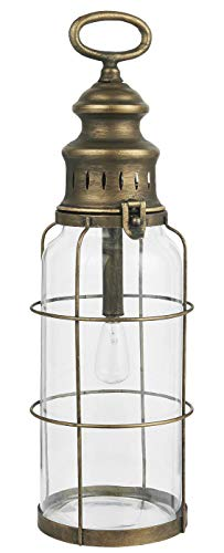 IB Laursen LED Laterne Gold Henkel Hängelampe Batteriebetrieb 42 cm Lampe Metall