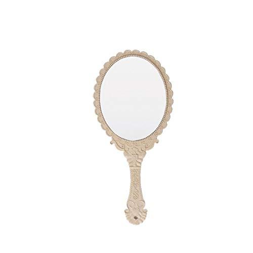 IUwnHceE 1pcs HHeld Miroir Motif Vintage Design Ovale en Forme Miroir De Maquillage Miroir De Maquillage Portable Poignée Maquillage Beauté Miroir Accessoire pour Homme Femme Beige