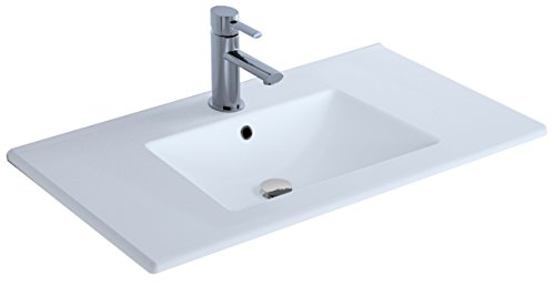 Cygnus Bath Extraplano Lavabo Porcelana, Blanco Brillo, 80 cm, 13 Unidades