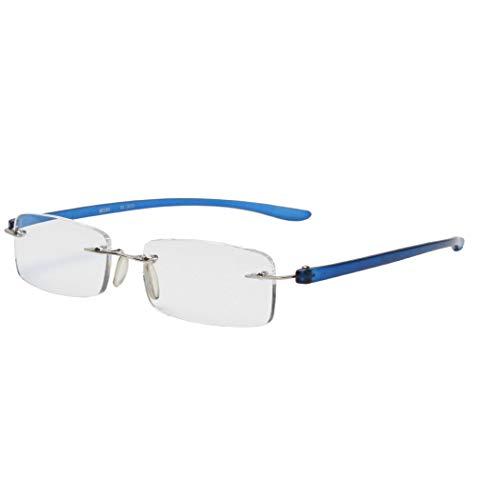 MIDI-ミディ おしゃれなメンズ老眼鏡 リーディンググラス 軽量で快適な掛け心地 フチなし リムレスフレーム ブルー (M-303,C3,+3.00)