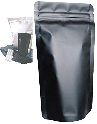 Smell Proof Bags Mylar Bags Ziplock Stand Up 100 Pack 5X8 Inch 500ml Resealable Matte Black Food Storage Bags Aluminum…