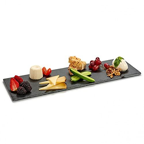 4 x Piatto in Pietra Ardesia Nera Naturale | Antipasti Piatti Solido Quadrato o rotondo | Bistecca di Sushi Barbecue...