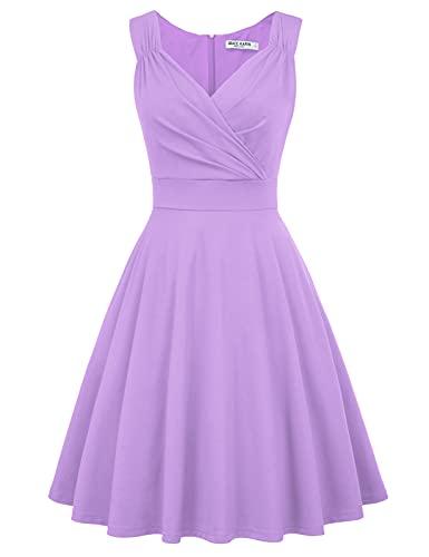 GRACE KARIN 1950s Dress V-Neck Cocktail Evening Party Dress Size 2XL Lavender CL698-31