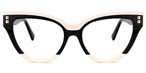 Zeelool Trendy Acetat Browline Cat Eye Brille mit nicht verschreibungspflichtigen Gläsern für Damen Cascata ZOA01858 Gr. L, Schwarz