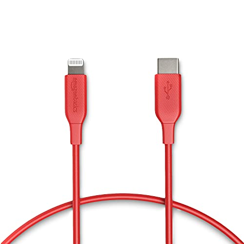 Amazon Basics - USB-C-auf-Lightning-Kabel, MFi-zertifiziertes Ladekabel für iPhone 11/11 Pro/11 Pro max/X/XS/XR/XS Max / 8/8 Plus, für Typ-C Ladegeräte, Unterstützt Power Delivery, Rot, 30,48 cm
