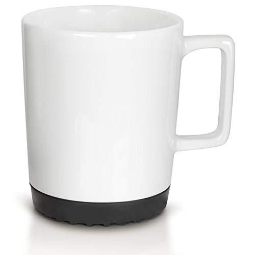 Mahlwerck Softpad Tasse in Weiß, Große Porzellan-Kaffeetasse mit schwarzen SoftPad, 350 ml