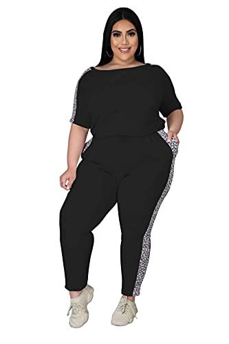 fanshion goup Conjunto de chándal de mujer oversize color sólido costura impresión ropa de salón fitness yoga gimnasio deportes traje ropa de dormir
