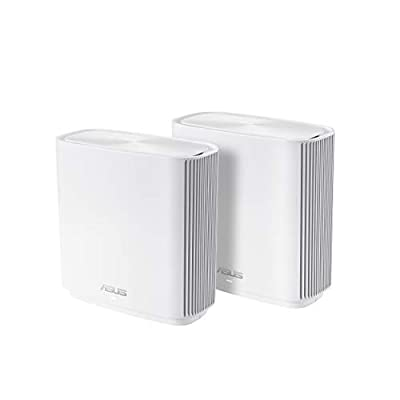 ASUS ZenWiFi AC Whole-Home Tri-Band Mesh System (CT8 2 Pack White) Coverage up to 5,400 sq.ft, AC3000, WiFi, Life-time Free Network Security and Parental Controls, 4X Gigabit Ports, 3 SSIDs