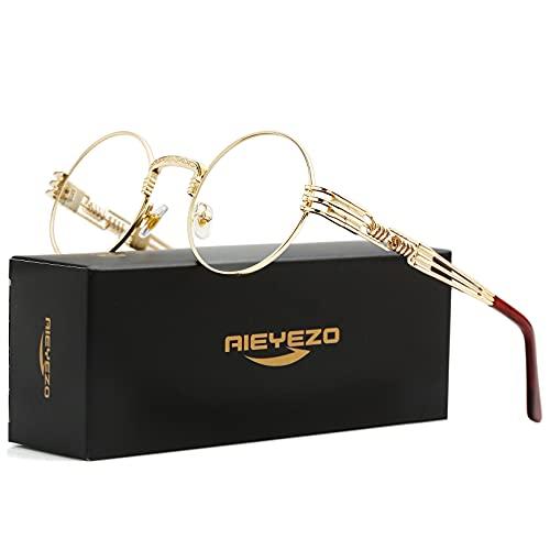 Round Steampunk Sunglasses John Lennon Hippie Glasses Metal Frame 100% UV Blocking Lens (Gold/Transparent)