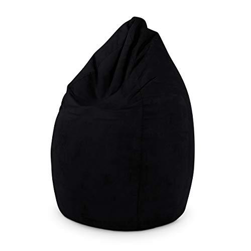 Green Bean © Drop Sitzsack 60x60x90 cm - 220L - Indoor - Sitzhöhe 50 cm, Rückenlehne 40 cm - waschbar, schmutzabweisend, abwischbar - Sitzkissen Bean Bag Gaming Sessel - Wildleder Optik - Schwarz