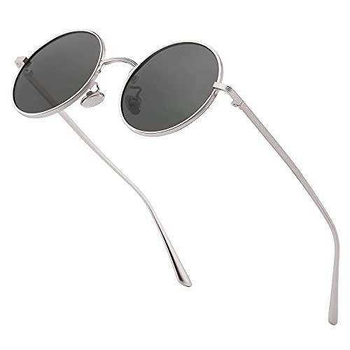 Yaxinduobao Gafas de sol pequeñas redondas clásicas Hombres Mujeres Gafas de sol ovaladas con estilo Gafas de sol circulares unisex vintage