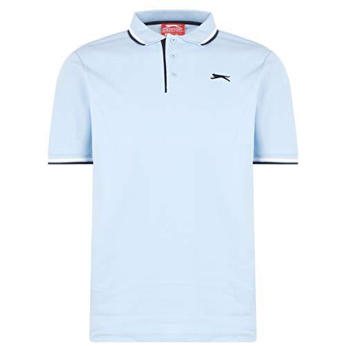 Slazenger Tipped Herren Polo Poloshirt T Shirt Kurzarm Classic Fit Tee Top Hellblau M