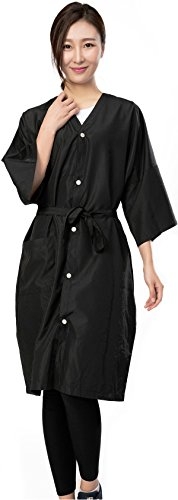 Bata de peluquería para cliente estilo kimono, Capa de corte para peluquería - 5 botones de cierre