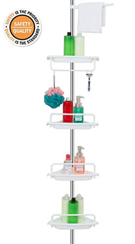 ALLZONE Constant Tension Corner Shower Caddy, Stainless Steel Pole, Rustproof, Strong and Sturdy, White, 56-114 Inches