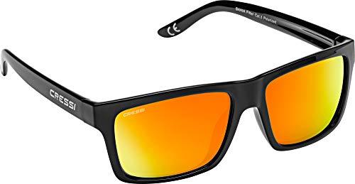 Cressi Bahia Floating Sunglasses, Occhiali Galleggianti Sportivi da Sole Unisex Adulto, Nero/Lente Specchiate Arancio, Unica