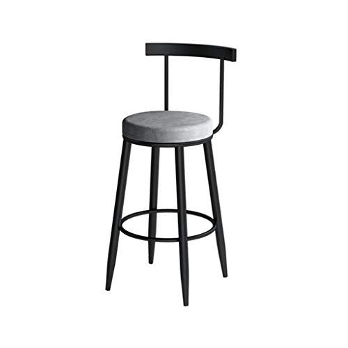 Chaises Nordic Light de Bar de Luxe de Fer Cadre avec Tabouret de Bar Tabouret Haut Dossier Hauteur d'assise -70cm (Size : 60cm)