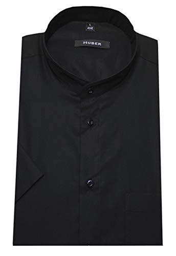 HUBER Stehkragenhemd Kurzarm schwarz XXXXXXL