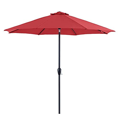 Tempera 9ft Auto-Tilt Patio Umbrella Outdoor Table Umbrella with 8 Sturdy Ribs, Rust Red
