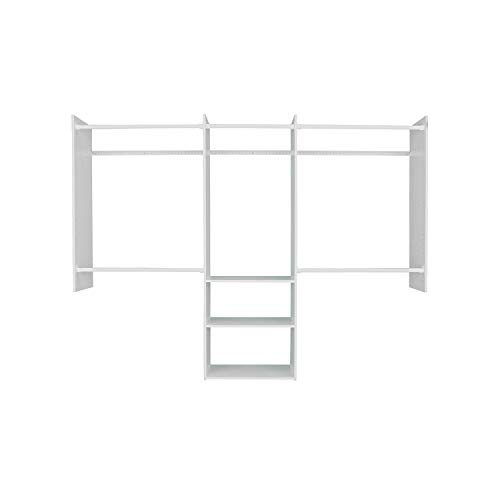 Easy Track RB1460ONPK Deluxe Starter Closet Storage Wall Mounted Wardrobe Organizer System Kit with Shelves and Rods White