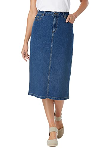 Woman Within Women's Plus Size Stretch Jean Skirt - 24 W, Medium Stonewash Blue