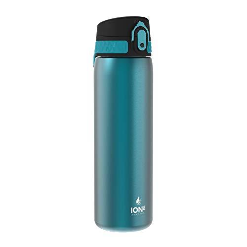 Ion8 Auslaufsichere Schlanke Trinkflasche, Vakuumisolierter Edelstahl, 500ml (17oz), Türkis