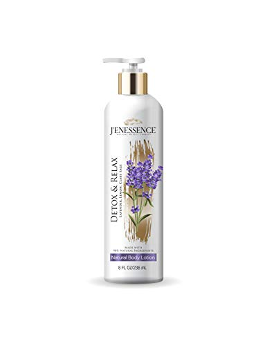 J'enessence Natural Body Lotion, Lavender, Lemon, Clary Sage, Therapeutic, Skin Detox, Relaxation, Parabens Free, Cruelty Free, Vegan