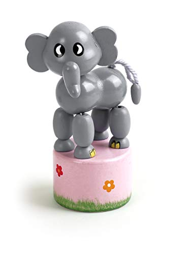 Small Foot 11136 Drückfigur Elefant aus Holz, FSC 100%-Zertifiziert, Mitgebsel Spielzeug, Mehrfarbig