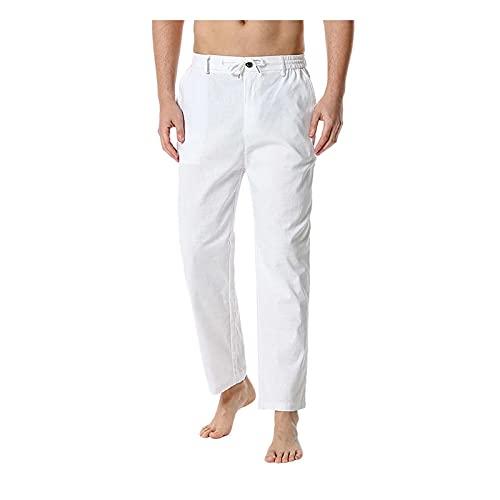 2021 Pantalones Hombre verano Casuales Moda Deportivos lino Pants Color sólido Jogging Pantalon Fitness otoño Suelto Pantalones Largos Pantalones Cómodo Ropa de hombre