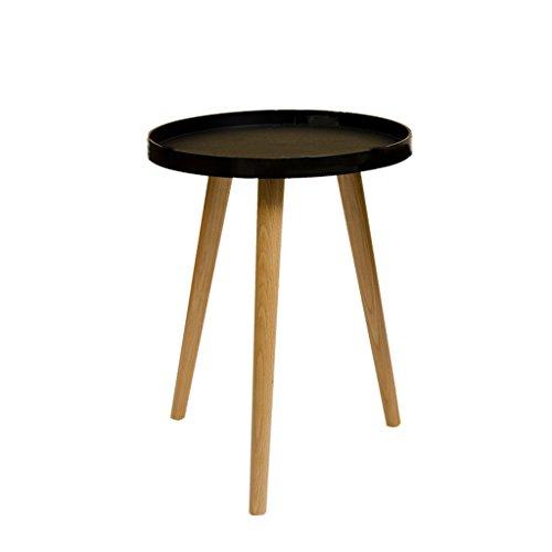 DQMSB Salon Balcon Table Basse Petite Table Ronde Petite Table Mini Table de Chevet Table d'appoint canapé, Disponible en Trois Tailles (Blanc/Noir/Gris) (Couleur : Noir, Taille : 40 * 50CM)